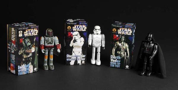 717: Lot of 3: Tin Star Wars Wind-Up Toys.