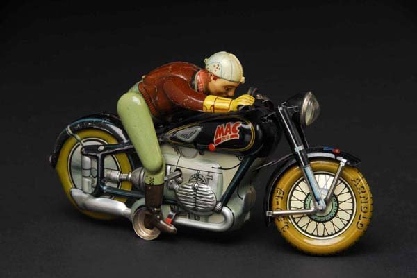 1348: Tin MAC 700 Motorcycle Wind-Up Toy.