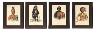 LOT OF 4: NATIVE AMERICAN CHIEF COLORED ENGRAVINGS.