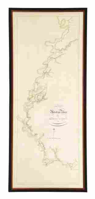 """DES BARRES MAP OF THE """"MISSISSIPPI RIVER FROM IBERVILLE"""