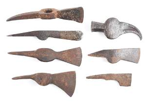 LOT OF 7: 18TH CENTURY TOMAHAWK HEADS.