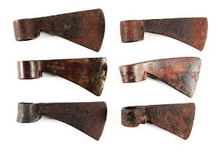 LOT OF 6: 18TH CENTURY AX HEADS, SEVERAL MAKER MARKED.