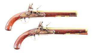 (A) PAIR OF AMERICAN STOCKED KENTUCKY PISTOLS.