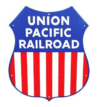 UNION PACIFIC RAILROAD PORCELAIN SHIELD SIGN.