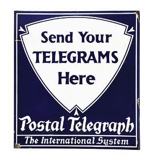 POSTAL TELEGRAPH FLANGED PORCELAIN SIGN.