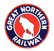 OUTSTANDING GREAT NORTHERN RAILWAY PORCELAIN SIGN W/