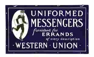 WESTERN UNION UNIFORMED MESSENGERS PORCELAIN SIGN W/