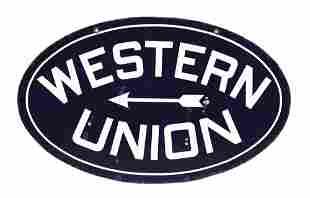 WESTERN UNION PORCELAIN SIGN W/ ARROW GRAPHIC.