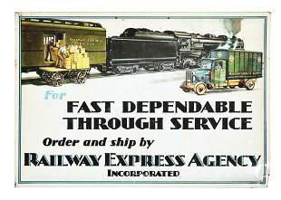 RAILWAY EXPRESS AGENCY SERVICE TIN OVER CARDBOARD SIGN