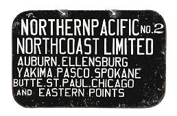 NORTHERN PACIFIC RAILWAY HAND PAINTED TIN DESTINATION