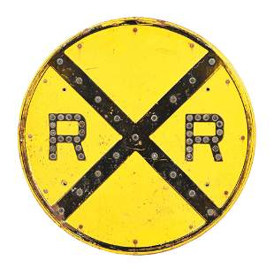 RAIL ROAD CROSSING STAMPED STEEL SIGN W/ GLASS CAT EYE