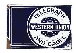 WESTERN UNION FLANGED PORCELAIN SIGN.
