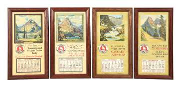 LOT OF 4: 1929 GREAT NORTHERN CALENDARS.