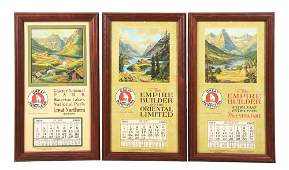 LOT OF 3: 1929 GREAT NORTHERN CALENDARS.