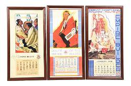 LOT OF 3: 1938, 35, AND 33 GREAT NORTHERN CALENDARS.