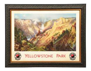 FRAMED NORTHERN PACIFIC YELLOWSTONE PARK.