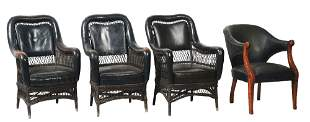 LOT OF 4: RAILROAD PARLOR CAR CHAIRS.