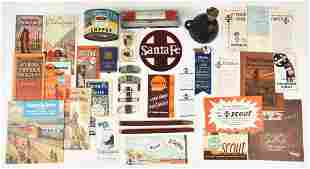 LARGE BOX LOT OF SANTA FE ITEMS.