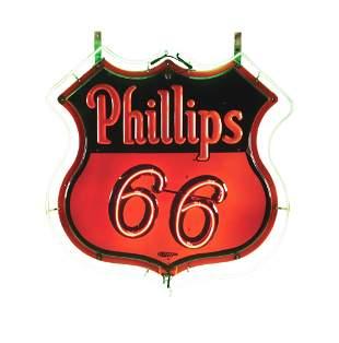 PHILLIPS 66 GASOLINE EMBOSSED PORCELAIN DOUBLE SIDED