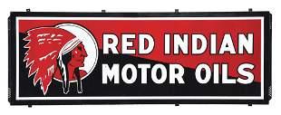 RARE RED INDIAN MOTOR OILS PORCELAIN SIGN W/ SELF