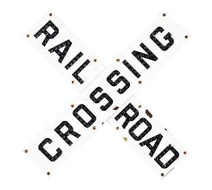 RAILROAD CROSSING PORCELAIN SIGN W/ ORIGINAL GLASS CAT