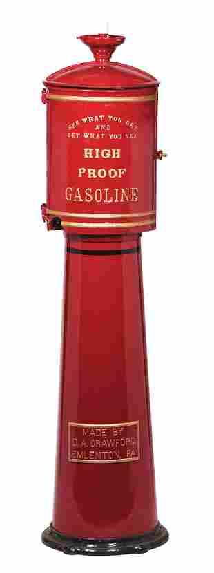 RARE CRAWFORD FIVE GALLON VISIBLE GAS PUMP W/ CAST IRON