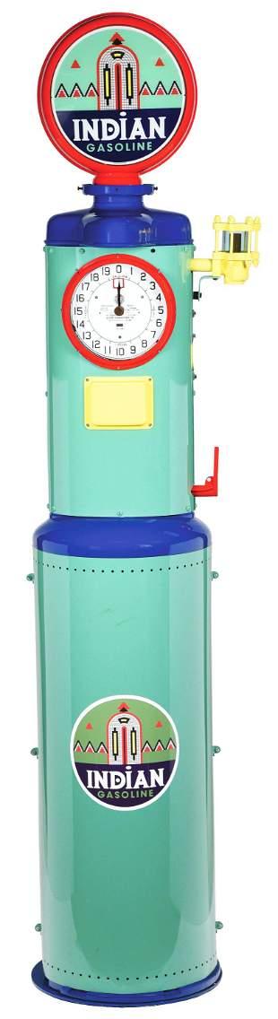 GILBERT & BARKER CLOCK FACE GAS PUMP RESTORED IN INDIAN