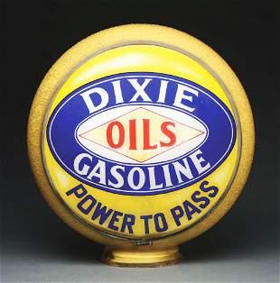 "DIXIE GASOLINE COMPLETE 13.5"" GLOBE ON ORIGINAL YELLOW"