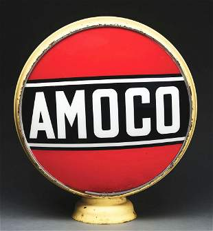 "AMOCO GASOLINE COMPLETE 15"" GLOBE ON ORIGINAL LOW"