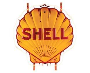 SHELL GASOLINE EMBOSSED PORCELAIN SERVICE STATION NEON