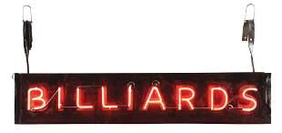 BILLIARDS TIN NEON SIGN MOUNTED ON ORIGINAL CAN.