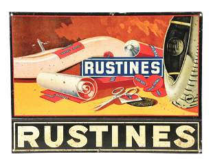 RUSTINES TIRES PATCHES TIN SIGN W/ TIRE GRAPHIC.