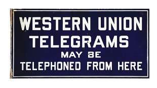 WESTERN UNION TELEGRAMS PORCELAIN FLANGE SIGN.