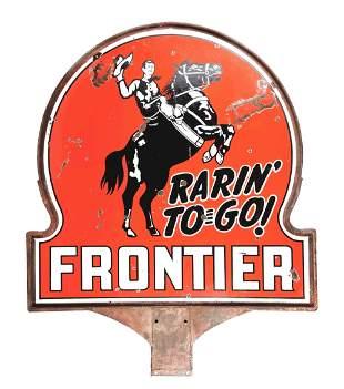 FRONTIER RARIN' TO GO GASOLINE PORCELAIN KEYHOLE SIGN