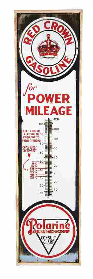 RED CROWN GASOLINE POWER MILEAGE PORCELAIN THERMOMETER.