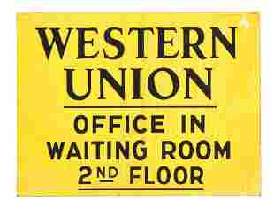 WESTERN UNION OFFICE PORCELAIN DIRECTIONAL SIGN.