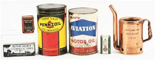 LOT OF 6: VARIOUS GAS & OIL CANS & ADVERTISING.