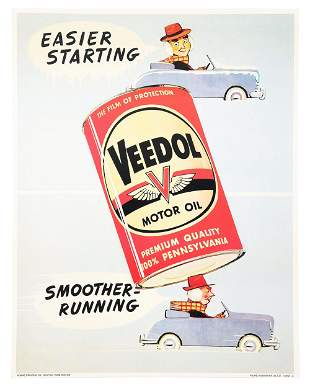 VEEDOL MOTOR OIL CARD STOCK SERVICE STATION POSTER W/