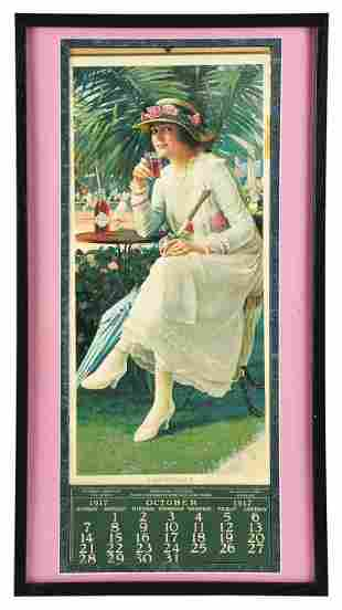 OCTOBER 1917 COCA-COLA FRAMED CALENDAR WITH BOTTLE.