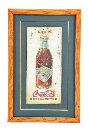 BEVELED EDGE TIN OVER CARDBOARD EARLY COCA-COLA SIGN.