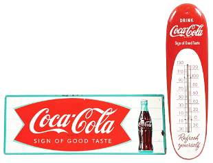 LOT OF 2: COCA-COLA SIGN AND THERMOMETER.
