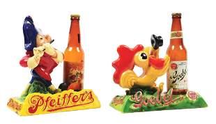 LOT OF 2: PFEIFFER'S AND GOEBEL BEER ADVERTISEMENTS.