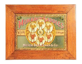 RARE AND EXCEPTIONAL MONARCH SADDLES FRAMED EMBOSSED