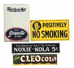 LOT OF 4: ADVERTISING SIGNS.
