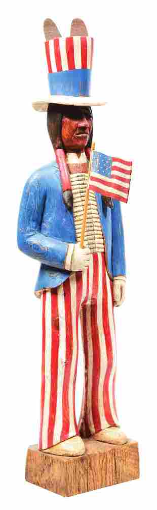 CIGAR STORE UNCLE SAM WOODEN INDIAN.