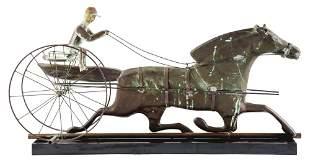 FOLK ART PRODUCED HORSE AND SULKY WEATHERVANE.