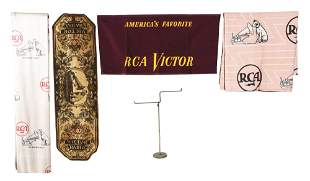 LOT OF 4: VICTOR ADVERTISING CLOTH ITEMS.