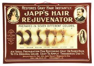 JAPP'S HAIR REJUVENATOR TIN OVER CARDBOARD ADVERTISING