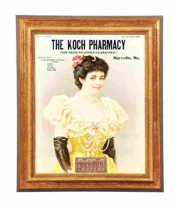 1904 KOCH PHARMACY CALENDAR PAPER LITHO ADVERTISEMENT.