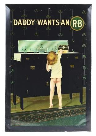 R.B CIGARS TIN OVER CARDBOARD ADVERTISEMENT.